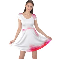 Abstract Pink Page Border Cap Sleeve Dresses