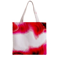 Abstract Pink Page Border Zipper Grocery Tote Bag