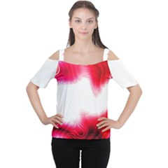 Abstract Pink Page Border Women s Cutout Shoulder Tee