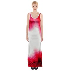 Abstract Pink Page Border Maxi Thigh Split Dress