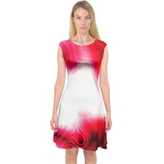 Abstract Pink Page Border Capsleeve Midi Dress
