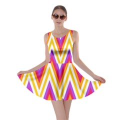 Colorful Chevrons Zigzag Pattern Seamless Skater Dress