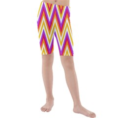 Colorful Chevrons Zigzag Pattern Seamless Kids  Mid Length Swim Shorts