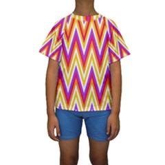 Colorful Chevrons Zigzag Pattern Seamless Kids  Short Sleeve Swimwear