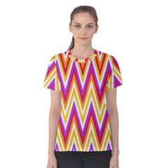 Colorful Chevrons Zigzag Pattern Seamless Women s Cotton Tee