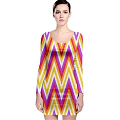 Colorful Chevrons Zigzag Pattern Seamless Long Sleeve Bodycon Dress