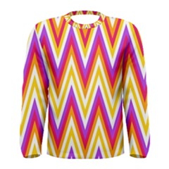 Colorful Chevrons Zigzag Pattern Seamless Men s Long Sleeve Tee