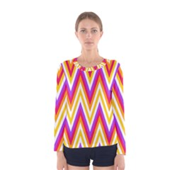 Colorful Chevrons Zigzag Pattern Seamless Women s Long Sleeve Tee