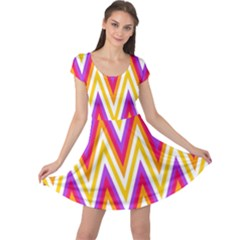 Colorful Chevrons Zigzag Pattern Seamless Cap Sleeve Dresses