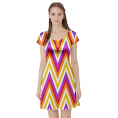 Colorful Chevrons Zigzag Pattern Seamless Short Sleeve Skater Dress