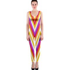 Colorful Chevrons Zigzag Pattern Seamless OnePiece Catsuit