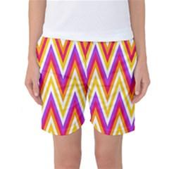 Colorful Chevrons Zigzag Pattern Seamless Women s Basketball Shorts