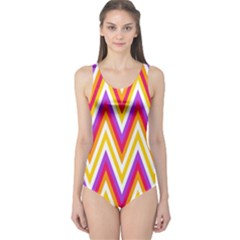 Colorful Chevrons Zigzag Pattern Seamless One Piece Swimsuit