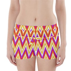 Colorful Chevrons Zigzag Pattern Seamless Boyleg Bikini Wrap Bottoms
