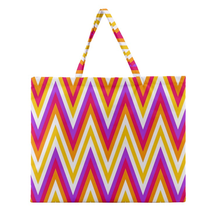 Colorful Chevrons Zigzag Pattern Seamless Zipper Large Tote Bag