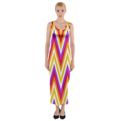 Colorful Chevrons Zigzag Pattern Seamless Fitted Maxi Dress