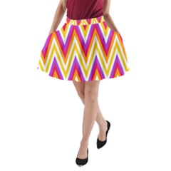 Colorful Chevrons Zigzag Pattern Seamless A Line Pocket Skirt