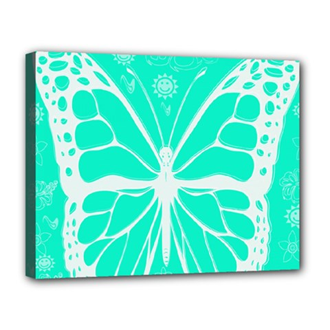 Butterfly Cut Out Flowers Canvas 14  X 11