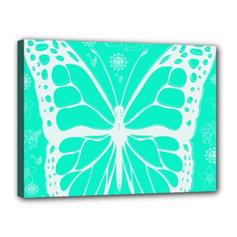 Butterfly Cut Out Flowers Canvas 16  X 12
