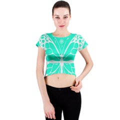 Butterfly Cut Out Flowers Crew Neck Crop Top