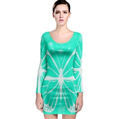 Butterfly Cut Out Flowers Long Sleeve Bodycon Dress