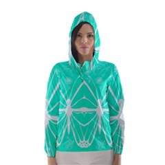 Butterfly Cut Out Flowers Hooded Wind Breaker (Women)