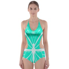 Butterfly Cut Out Flowers Cut-Out One Piece Swimsuit
