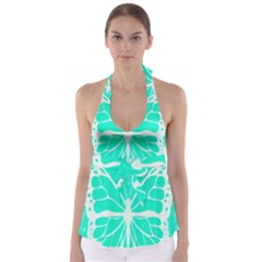 Butterfly Cut Out Flowers Babydoll Tankini Top