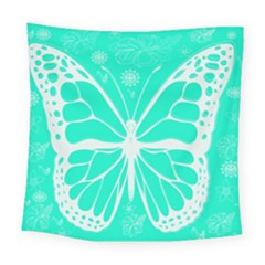 Butterfly Cut Out Flowers Square Tapestry (large)