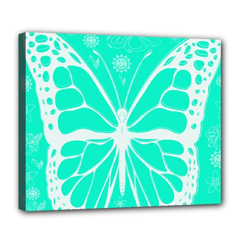 Butterfly Cut Out Flowers Deluxe Canvas 24  x 20
