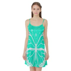 Butterfly Cut Out Flowers Satin Night Slip