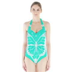 Butterfly Cut Out Flowers Halter Swimsuit