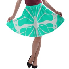 Butterfly Cut Out Flowers A Line Skater Skirt
