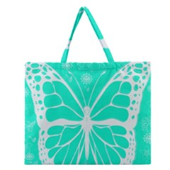 Butterfly Cut Out Flowers Zipper Large Tote Bag