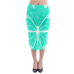 Butterfly Cut Out Flowers Midi Pencil Skirt