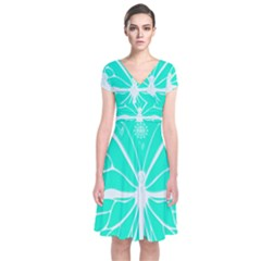 Butterfly Cut Out Flowers Short Sleeve Front Wrap Dress