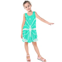 Butterfly Cut Out Flowers Kids  Sleeveless Dress