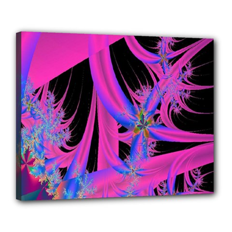 Fractal In Bright Pink And Blue Canvas 20  X 16
