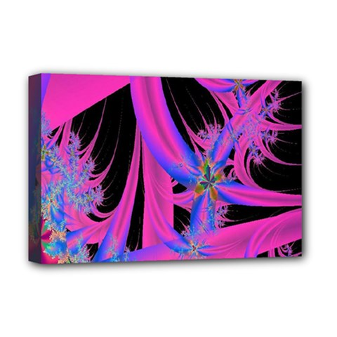 Fractal In Bright Pink And Blue Deluxe Canvas 18  X 12