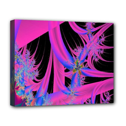 Fractal In Bright Pink And Blue Deluxe Canvas 20  X 16