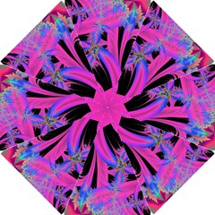 Fractal In Bright Pink And Blue Hook Handle Umbrellas (Small)