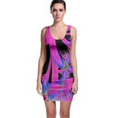 Fractal In Bright Pink And Blue Sleeveless Bodycon Dress