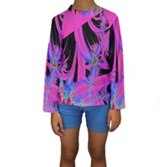 Fractal In Bright Pink And Blue Kids  Long Sleeve Swimwear