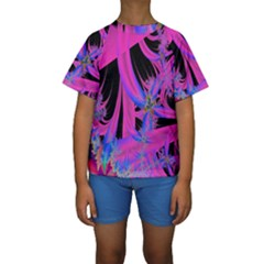 Fractal In Bright Pink And Blue Kids  Short Sleeve Swimwear