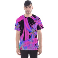 Fractal In Bright Pink And Blue Men s Sport Mesh Tee