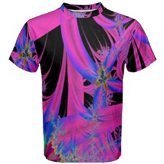 Fractal In Bright Pink And Blue Men s Cotton Tee