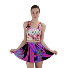 Fractal In Bright Pink And Blue Mini Skirt
