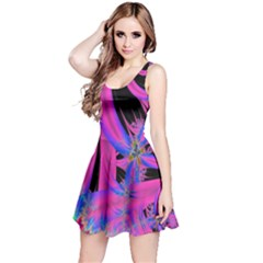 Fractal In Bright Pink And Blue Reversible Sleeveless Dress