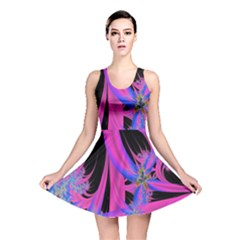 Fractal In Bright Pink And Blue Reversible Skater Dress