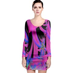 Fractal In Bright Pink And Blue Long Sleeve Bodycon Dress